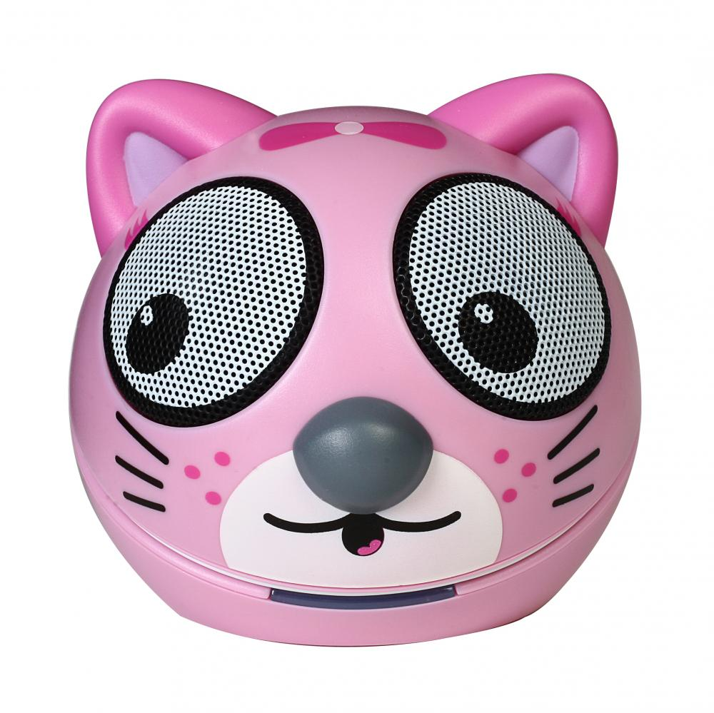 zoo tunes compact portable bluetooth stereo speaker pink kitten 810941018152 ebay. Black Bedroom Furniture Sets. Home Design Ideas